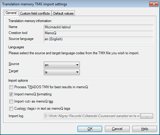 MemoQ tm tmx import settings general Term base TMX import settings