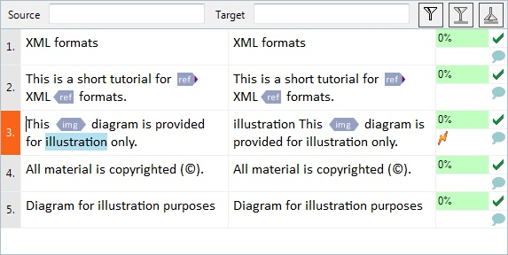 MemoQ translation grid Translation grid