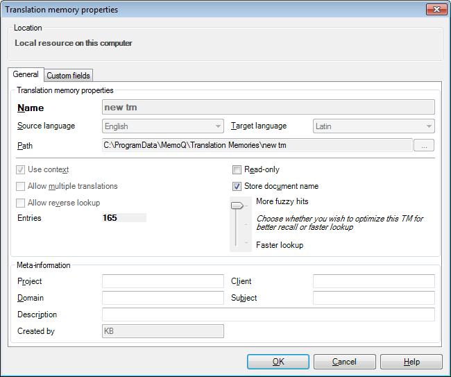 MemoQ translation memory properties Translation memory properties