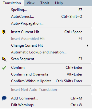 MemoQ translation menu Translation menu