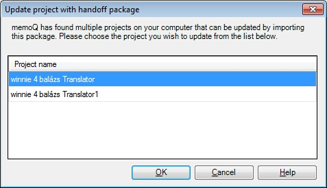 MemoQ update project with handoff package dialog Choose a handoff package to be updated