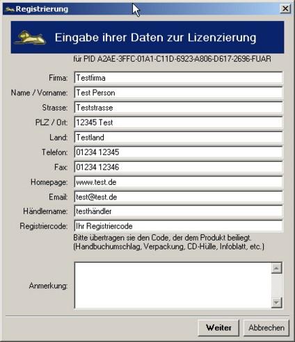 Mercalli lizng01 Registrierung / Schlüsselantrag