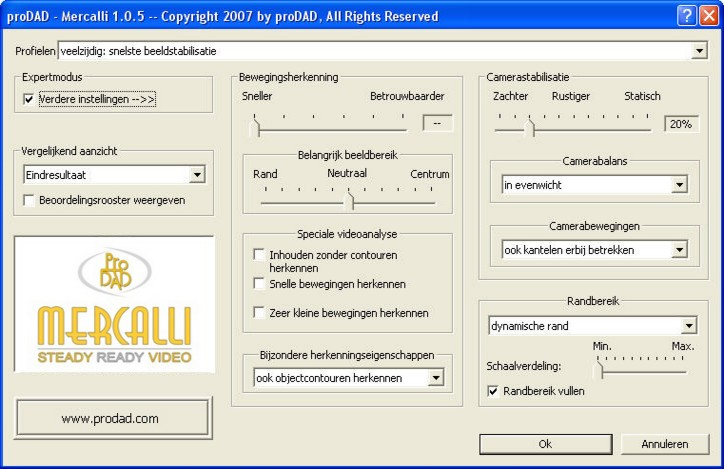 Mercalli Clip2 Expertmodus voor manuele optimaliseringen