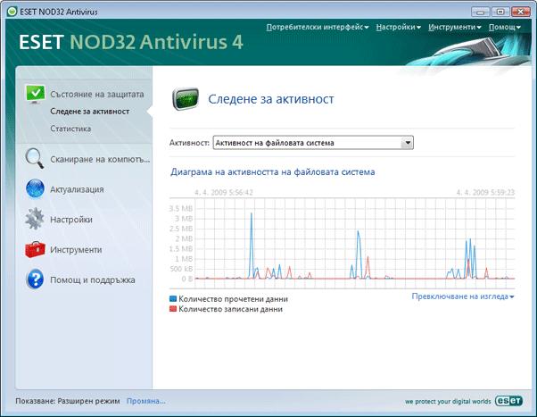 Nod32 ea page activity Следене за активност