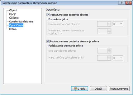Nod32 config limit Ograničenja