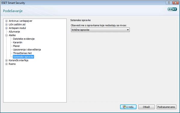 Nod32 config windows update Ažuriranje operativnog sistema – postavke