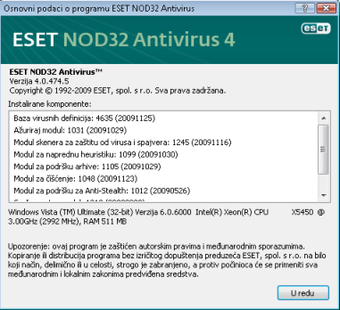 Nod32 ea about Osnovne informacije o programu ESET NOD32 Antivirus