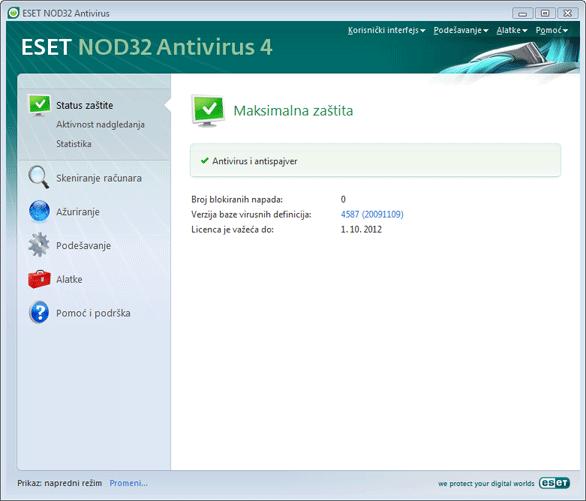 Nod32 ea advanced mode Napredni režim