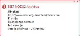 Nod32 ea antivirus behavior and user interaction Ponašanje sa ciljem zaštite od virusa i interakcija korisnika