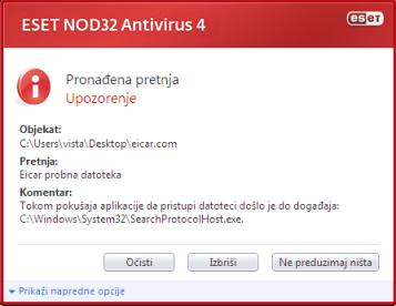 Nod32 ea antivirus behavior and user interaction 01 Otkrivena je infiltracija