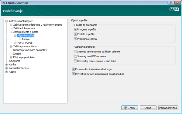 Nod32 ea config emon scan Zaštita klijenta e pošte