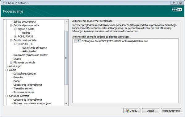 Nod32 ea config epfw browsers mode Aktivni režim za Internet pregledače