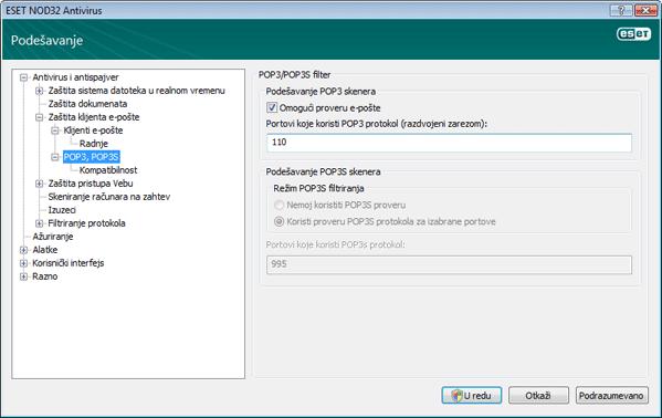 Nod32 ea config epfw scan pop3 Provera POP3 protokola