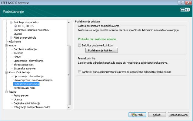 Nod32 ea config password Zaštita postavki