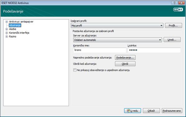 Nod32 ea config update source Podešavanje ažuriranja