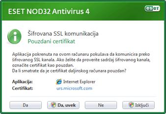 Nod32 ea dialog epfw new certificate Šifrovana SSL komunikacija
