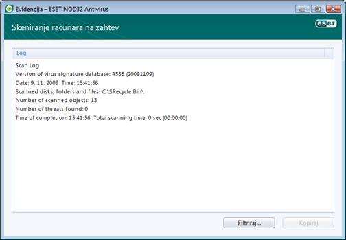 Nod32 ea log window Datoteke evidencije – novi prozor