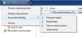 Nod32 ea oe toolbar Traka sa alatkama programa Outlook Express i Windows pošta