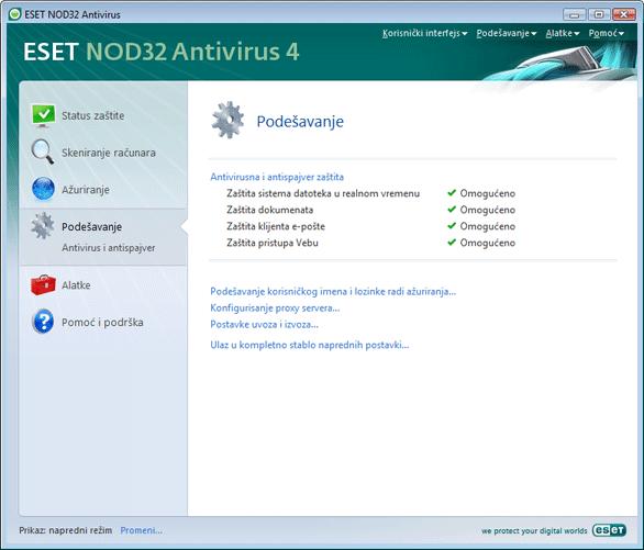 Nod32 ea page advanced settings Podešavanje – napredni režim