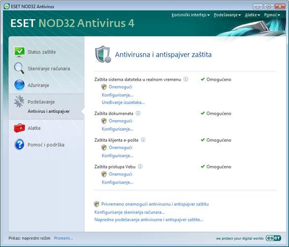 Nod32 ea page settings antivirus Podešavanje – napredni režim
