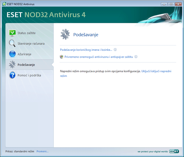 Nod32 ea page simple settings Podešavanje – standardni režim