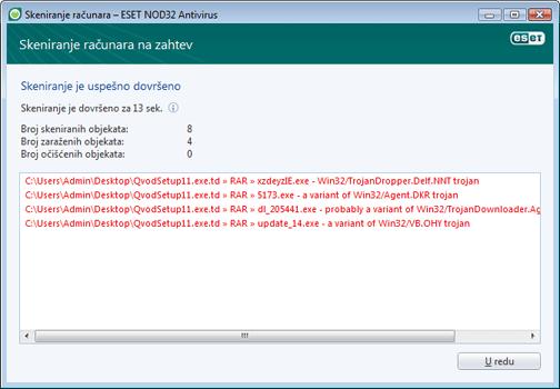 Nod32 ea scan finishwindow Skeniranje je uspešno dovršeno