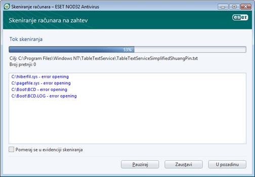 Nod32 ea scan window Skeniranje računara – prozor