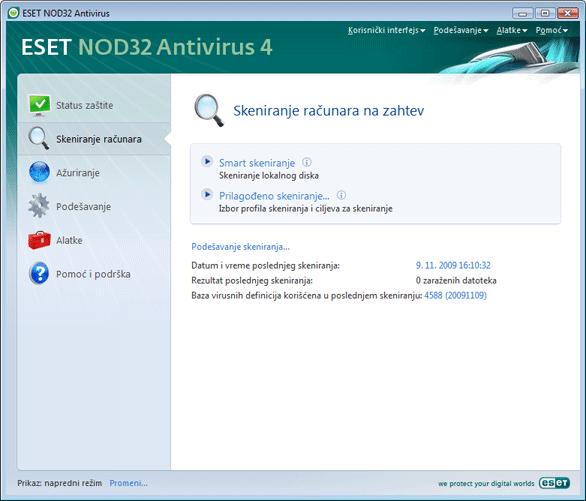 Nod32 ea scanner main Skeniranje računara