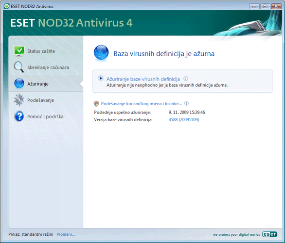 Nod32 ea update main Podešavanje ažuriranja