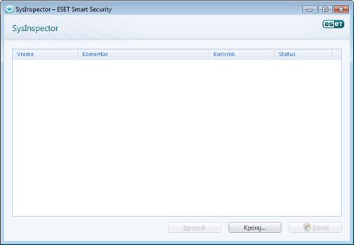 Nod32 sysinspector window ESET SysInspector – novi prozor