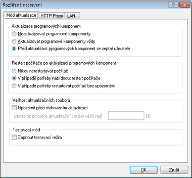 Nod32 config update mode Mód aktualizace