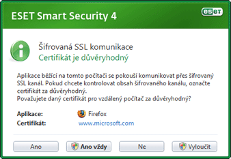 Nod32 dialog epfw new certificate Kryptovaná SSL komunikace