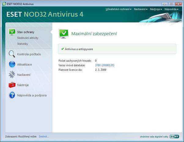 Nod32 ea advanced mode Rozšířený režim