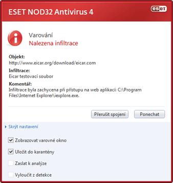 Nod32 ea antivirus behavior and user interaction 01 Správa antivirové ochrany a interakce s uživatelem