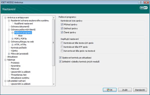 Nod32 ea config emon scan Poštovní programy