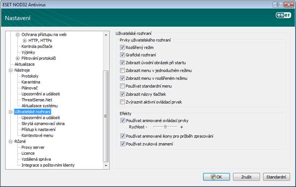 Nod32 ea config environment Uživatelské rozhraní