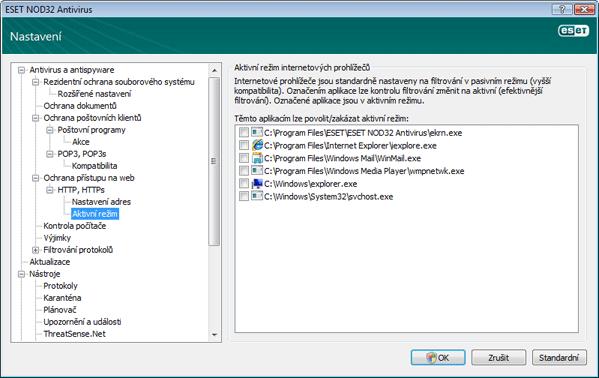 Nod32 ea config epfw browsers mode Aktivní režim internetových prohlížečů