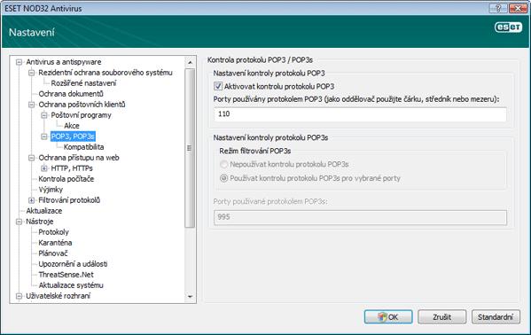 Nod32 ea config epfw scan pop3 POP3, POP3s