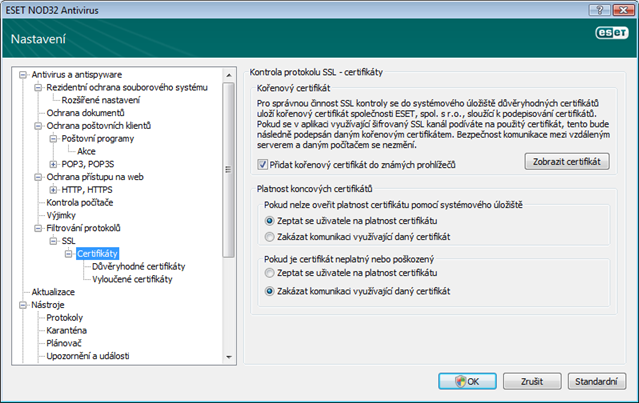 Nod32 ea config epfw ssl cert set Certifikáty