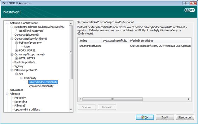Nod32 ea config epfw ssl trusted Důvěryhodné certifikáty