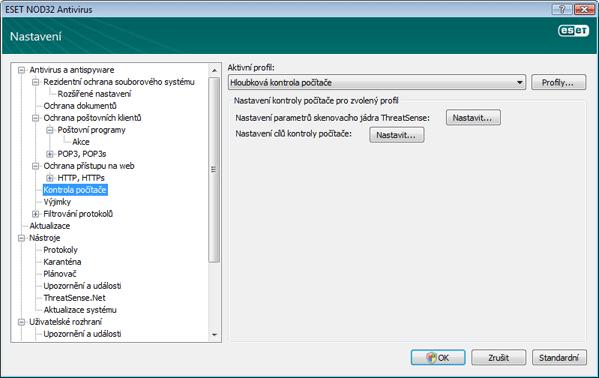 Nod32 ea config scan Kontrola počítače   nastavení