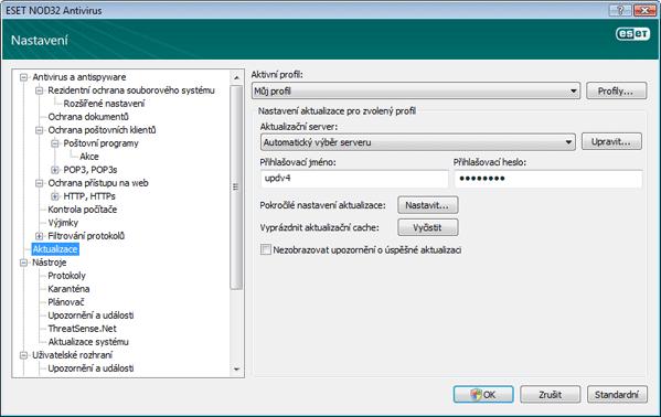 Nod32 ea config update source Nastavení aktualizace