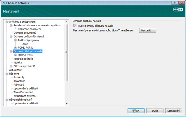 Nod32 ea config web Ochrana přístupu na web