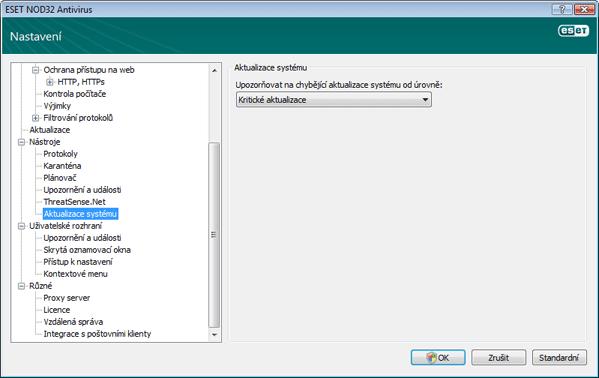 Nod32 ea config windows update Nastavení aktualizace operačního systému