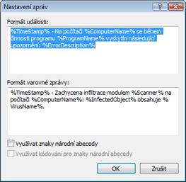 Nod32 ea format notice Formát událostí