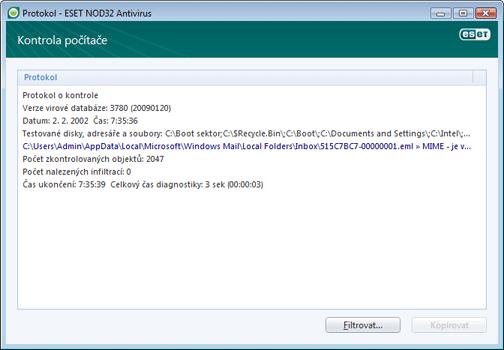 Nod32 ea log window Protokoly   nové okno