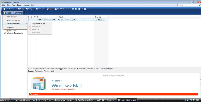 Nod32 ea oe toolbar Outlook Express a panel nástrojů Windows Mail