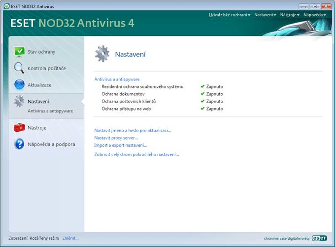 Nod32 ea page advanced settings Seznámení s uživatelským rozhraním