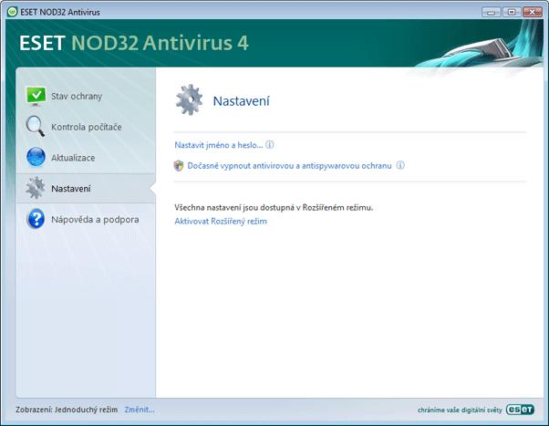 Nod32 ea page simple settings Nastavení   jednoduchý režim