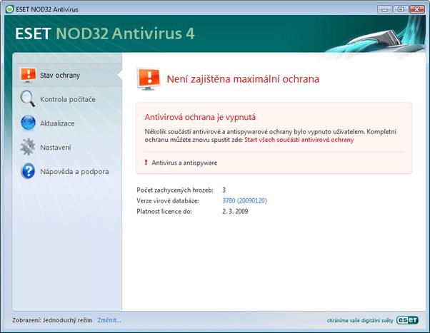 Nod32 ea page status 02 Co dělat, pokud systém nefunguje správně